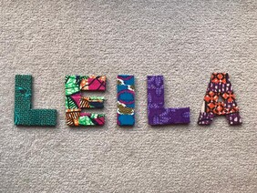 Fabric Covered Wooden Letters - LEILA