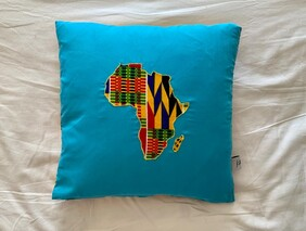 Map of Africa Cushion Cover in Electric Blue