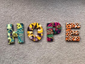 Fabric Covered Wooden Letters - HOPE