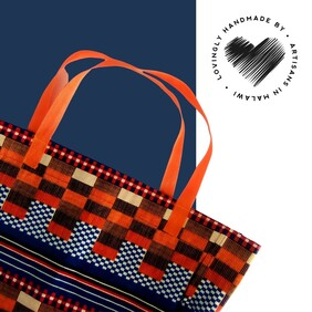 Orange And Blue Shopping Bag