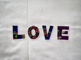 Set of 4 Fabric Covered Wooden Letters - LOVE