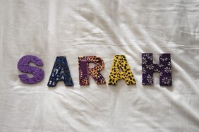 Fabric Covered Wooden Letters - SARAH