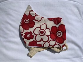 Red and White Flowers Face Mask (Adult)