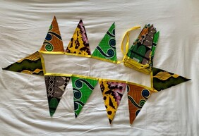 Yellow, Orange and Green Triangle Bunting (8M)